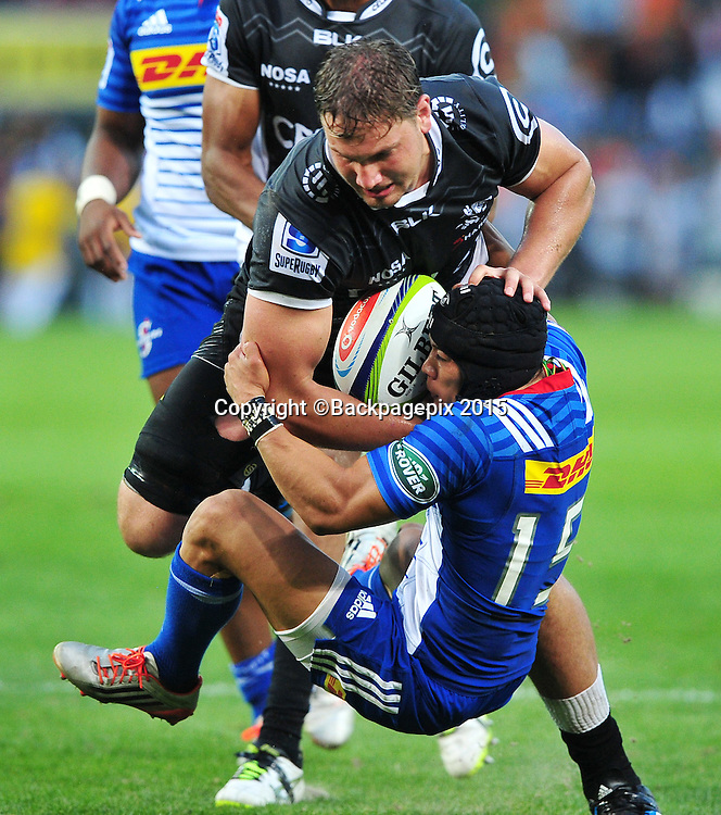 Cheslin Kolbe of the Stormers tackles Etienne Oosthuizen of the Sharks during the 2016 Super Rugby match between the Stormers and the Sharks at Newlands Stadium, Cape Town on 12 March 2016 ©Ryan Wilkisky/BackpagePix