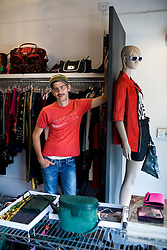 Joel de Fandino(tilde over the N) inside the vinatge clothing store he owns, Vintage Hoe, in the Colonia Roma Norte in Mexico City.