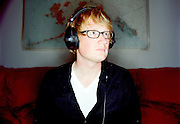 Erik Braund in his music studio in Anchorage, Alaska. 2010