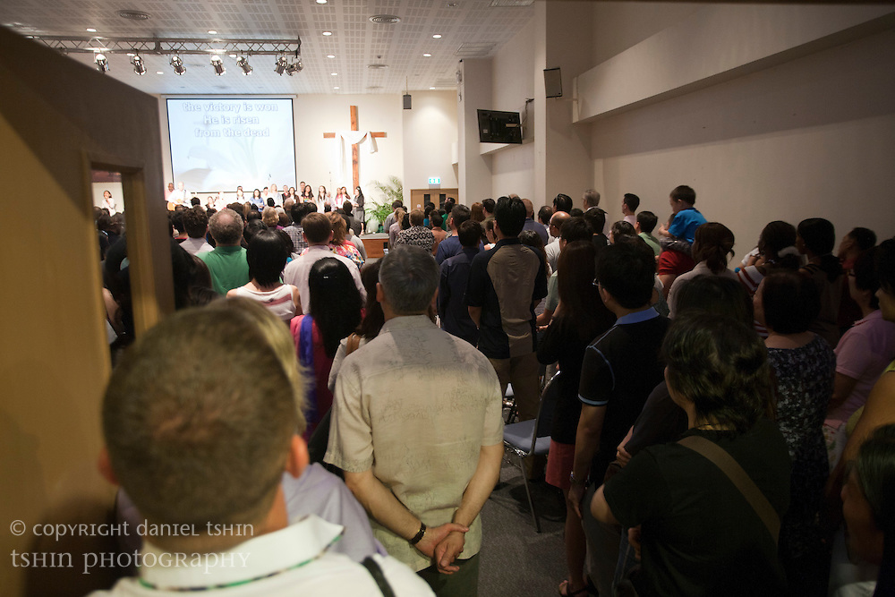 From the main doors at the back of the Evangelical Church of Bangkok (ECB). It was a full house for the Easter service on 24 April 2011 in Bangkok, Thailand