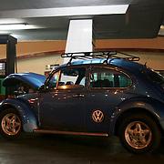 Volkswagen Beetle in gas station in Havana, Cuba..Photo/Angel Valentin