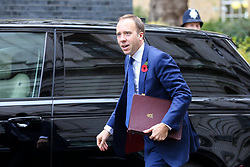 © Licensed to London News Pictures. 29/10/2019. London, UK. Secretary of State for Health and Social Care MATT HANCOCK arrives in Downing Street to attend the weekly cabinet meeting. Photo credit: Dinendra Haria/LNP