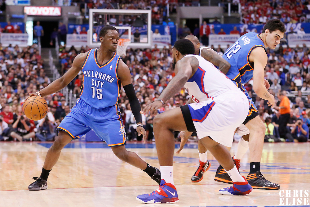 11 May 2014: Oklahoma City Thunder guard Reggie Jackson (15) looks to pass the ball during the Los Angeles Clippers 101-99 victory over the Oklahoma City Thunder, during Game Four of the Western Conference Semifinals of the NBA Playoffs, at the Staples Center, Los Angeles, California, USA.