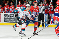 KELOWNA, CANADA, JANUARY 4: Tyrell Goulbourne #12 of the Kelowna Rockets skates on the ice as the Spokane Chiefs visit the Kelowna Rockets on January 4, 2012 at Prospera Place in Kelowna, British Columbia, Canada (Photo by Marissa Baecker/Getty Images) *** Local Caption ***