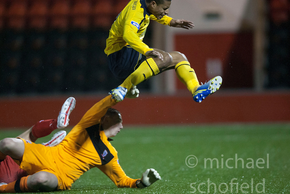 Falkirk's Lyle Taylor celebrates after scoring their second goal..Airdrie United 1 v 4 Falkirk, 22/12/2012..©Michael Schofield.