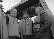 Round Europe Yacht Race.   (R61)..1987..25.07.1987..07.25.1987..25th July 1987..President Patrick Hillery started the Round Europe Yacht Race which began at Dun Laoghaire today,..Image shows President Hillery in the bridge of the lifeboat as it heads out to the race start line.