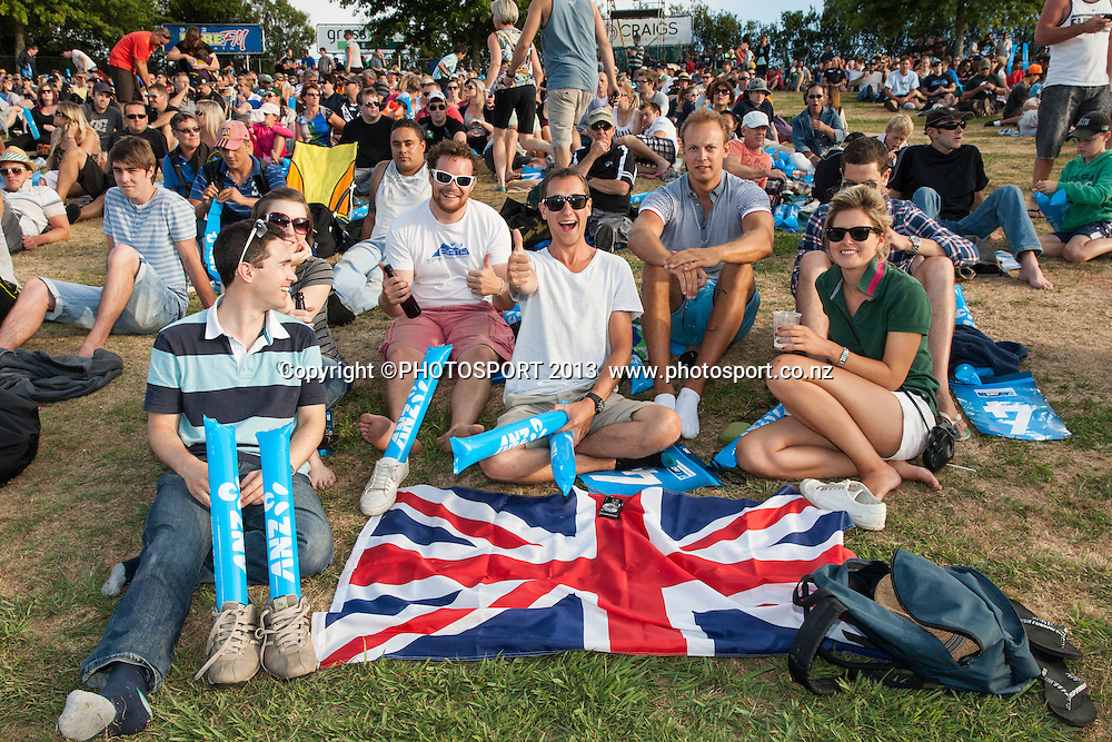 English fans with flag during the ANZ T20 Series. 2nd Twenty20 Cricket International. New Zealand Black Caps versus England at Seddon Park, Hamilton, New Zealand. Tuesday 12 February 2013. Photo: Stephen Barker/Photosport.co.nz