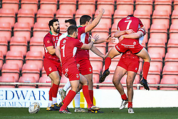 11th November 2018 , Racecourse Ground,  Wrexham, Wales ;  Rugby League World Cup Qualifier,Wales v Ireland ; Chester Butler of Wales celebrates his try with with team-mates<br /> <br /> <br /> Credit:   Craig Thomas/Replay Images