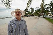 Ketut Edy Mulyana, hotel manager of Parai Beach Resorts (11O rooms). The number of tourists has decreased because of the tin mines off shore, poluting the sea water. Bangka Island (Indonesia) is devastated by illegal tin mines. The demand for tin has increased due to its use in smart phones and tablets.<br /> <br /> Ketut Edy Mulyana, directeur de l'hôtel Parai Beach Resorts (11O chambres). Voit la fréquentation des touristes baisser à cause des mines sur la mer.  L'île de Bangka (Indonésie) est dévastée par des mines d'étain sauvages. La demande de l'étain a explosé à cause de son utilisation dans les smartphones et tablettes.