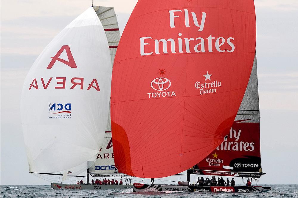 Valencia, SPAIN, Louis Vuitton Cup, Round Robin 2, Flight 4. Emirates Team New Zealand (NZL), Areva Challenge (FRA)