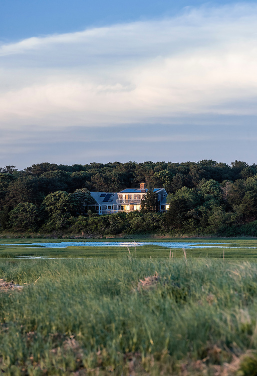 Waterfront house, Boat Meadow Beach, Eastham, Cape Cod, Massachusetts, USA.