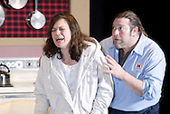 Teresa Connair (left) and Troy Lindsey during a dress rehearsal of Kimberly Akimbo at the Dayton Theatre Guild in Dayton, Tuesday, February 23, 2010.