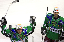 Tomaz Vnuk and Raffaele Intranuovo at 39th Round of EBEL League ice hockey match between HDD Tilia Olimpija and HK Acroni Jesenice, on December 30, 2008, in Arena Tivoli, Ljubljana, Slovenia. Tilia Olimpija won 4:3. (Photo by Vid Ponikvar / SportIda).