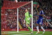 John Obi Mikel (Chelsea) and Simon Mignolet (Liverpool) watch as the ball hits the top of the net during the Barclays Premier League match between Liverpool and Chelsea at Anfield, Liverpool, England on 11 May 2016. Photo by Mark P Doherty.