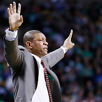 07 April 2013: Boston Celtics head coach Doc Rivers is seen during the Boston Celtics 107-96 victory over the Washington Wizards at the TD Garden, Boston, Massachusetts, USA.