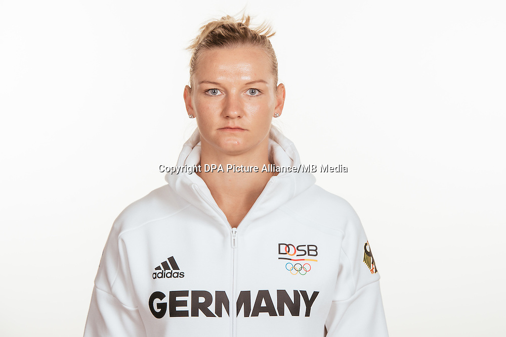 Alexandra Popp poses at a photocall during the preparations for the Olympic Games in Rio at the Emmich Cambrai Barracks in Hanover, Germany, taken on 15/07/16 | usage worldwide