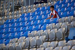 ASTANA, KAZAKHSTAN - Sunday, September 17, 2017: A Kazakhstan supporter before the FIFA Women's World Cup 2019 Qualifying Round Group 1 match between Kazakhstan and Wales at the Astana Arena. (Pic by David Rawcliffe/Propaganda)