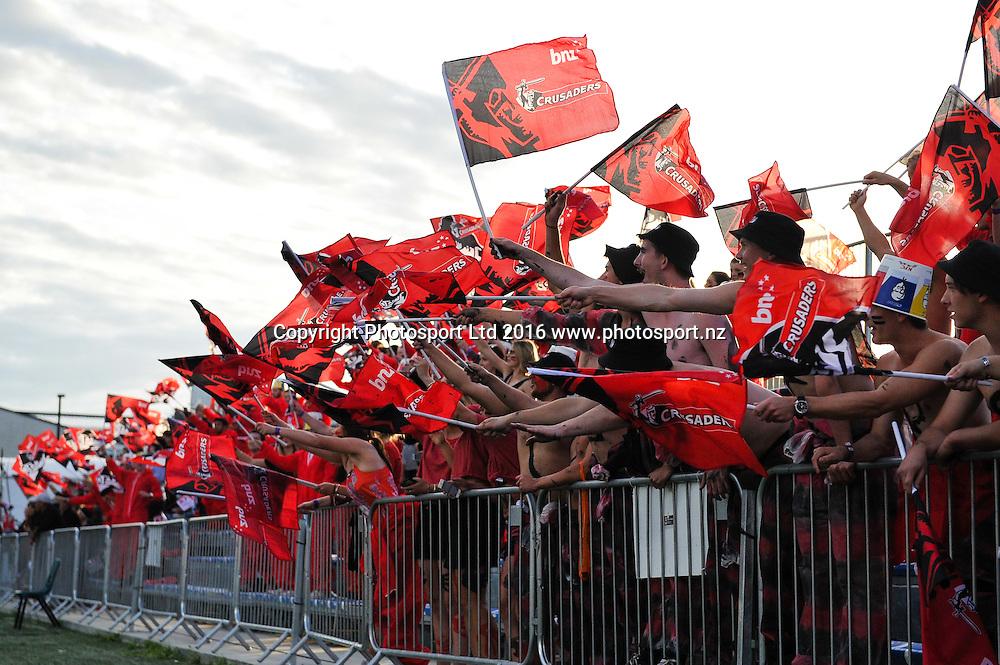 Fans during the Super Rugby Match, Crusaders V Blues, AMI Stadium, Christchurch, New Zealand. 3rd March 2016. Copyright Photo: John Davidson / www.photosport.nz
