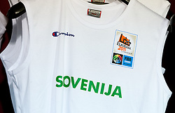 T-shirt of Slovenia during basketball game between National basketball teams of Slovenia and Serbia in 7th place game of FIBA Europe Eurobasket Lithuania 2011, on September 17, 2011, in Arena Zalgirio, Kaunas, Lithuania. Slovenia defeated Serbia 72 - 68 and placed 7th. (Photo by Vid Ponikvar / Sportida)