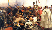 Reply of the Zaporozhian Cossacks to Sultan Mehmed IV of the Ottoman Empire', 1880-91. Oil on canvas. Ilya Repin (1844–1930) Russian artist. Political and military force from 16th century until disbanded by Russia in 18th century.