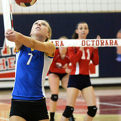 Photos by Tom Kelly IV<br /> East's Alli Alicea (7) sets the ball during the Downingtown East vs Octorara volleyball game at Octorara on Wednesday October 16, 2013.