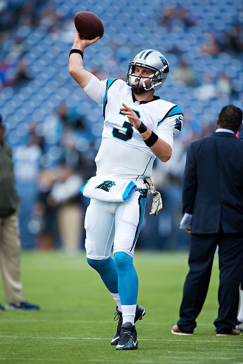 NASHVILLE, TN - NOVEMBER 15:  Derek Anderson #3 of the Carolina Panthers warming up before a game against the Tennessee Titans at Nissan Stadium on November 15, 2015 in Nashville, Tennessee.  (Photo by Wesley Hitt/Getty Images) *** Local Caption *** Derek Anderson