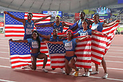 CORRECTION Team USA, winners of the Men's Gold and Women's Bronze in the 4x100 Metres Finals during the 2019 IAAF World Athletics Championships at Khalifa International Stadium, Doha, Qatar on 5 October 2019.