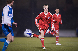 BRISTOL, ENGLAND - Thursday, January 15, 2009: Liverpool's Lauri Dalla Valle in action against Bristol Rovers during the FA Youth Cup match at the Memorial Stadium. (Mandatory credit: David Rawcliffe/Propaganda)