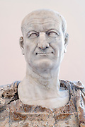 Roman Emperor Vespasian (reigns 69-79AD) marble bust from circa 80 AD  Farnese Collection on display in the National Archaeological Museum in Naples, Campania, Italy