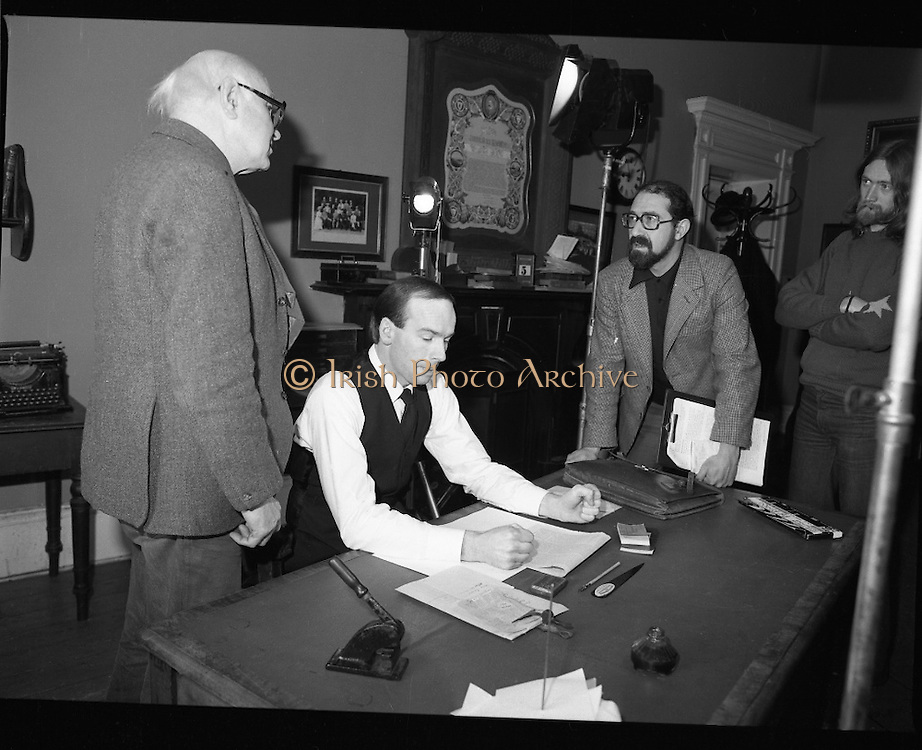 Patrick Pearse a film by Louis Marcus.    (N6)..1979..13.12.1979..12.13.1979..13th December 1979..A film on the Irish Patriot,Patrick was made by the Director, Louis Marcus.The film was to mark the centenary of Patrick Pearse's birth. The lead role was taken by renowned actor John Kavanagh.Others involved in the production were, Andy O'Mahoney, Niall Tobín,Denis Brennan and Derek Lord..Image of the Director, Louis Marcus, discussing details with the sound technician and actor John Kavanagh.
