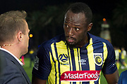 GOSFORD, AUSTRALIA - AUGUST 31: Central Coast Mariners player Usain Bolt (95) interviewed at The A-League trial match between the Central Coast Mariners and Central Coast Selecton August 31, 2018 at Central Coast Stadium in Gosford, Australia. (Photo by Speed Media/Icon Sportswire)