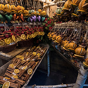 """BUDAPEST, HUNGARY - DECEMBER 07:  detailed view of a Christmas stall at the """"Basilica"""" Christmas fair on December 7, 2017 in Budapest, Hungary. The traditional Christmas market and lights will stay until 31st December 2017."""