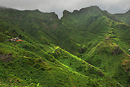 The rugged interior mountains of Santiago island, Cape Verde (Cabo Verde), lush and green following seasonal rains.