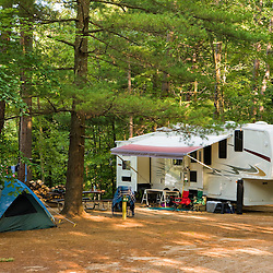 An RV at White Lake State Park in Tamworth, New Hampshire.