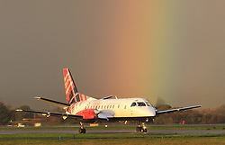 Pictured: Loganair Saab 340 at Glasgow International Airport on the 25 October 2017.<br /> <br /> <br /> &copy; Stephen Smyth/ EEm