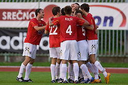 Players of Rudar celebrate (Fabijan Cipot) at 1st Round of Europe League football match between NK Rudar Velenje (Slovenia) and Trans Narva (Estonia), on July 9 2009, in Velenje, Slovenia. Rudar won 3:1 and qualified to 2nd Round. (Photo by Vid Ponikvar / Sportida)