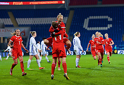 CARDIFF, WALES - Friday, November 24, 2017: Wales' Hayley Ladd [#14] celebrates scoring the first winning goal with team-mate Jessica Fishlock during the FIFA Women's World Cup 2019 Qualifying Round Group 1 match between Wales and Kazakhstan at the Cardiff City Stadium. (Pic by David Rawcliffe/Propaganda)
