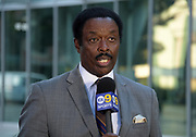 Nov 15, 2017; Los Angeles, CA, USA; KCAL 9 Sports broadcaster Jim Hill during a press conference at Pauley Pavilion regarding arrest of UCLA Bruins basketball players Jalen Hill, LiAngelo Ball and Cody Riley in China for shoplifting. Mandatory Credit: Kirby Lee-USA TODAY Sports