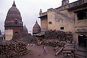 "The Funeral Ghats or ""burning ghats"" where Hindus achieve reincarnation"