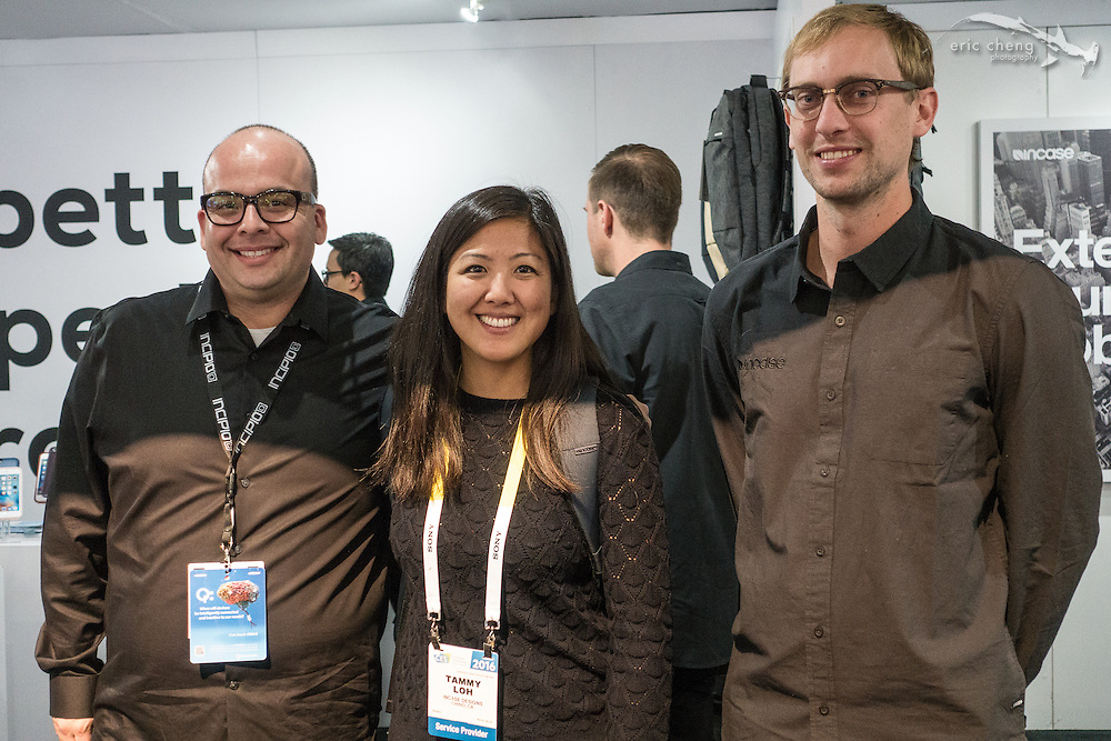 Tammy and co-workers at Incase booth (in the Incipio booth). CES 2016, Las Vegas.