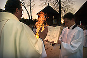 15.04.2006 Chynow  near Grojec Poland. Easter Eve (fire consecration) in the oldest church of larch on Mazovia (built 1303-1434) photo. Piotr Gesicki