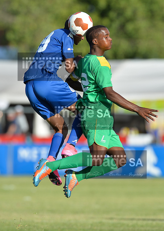 CAPE TOWN, SOUTH AFRICA - Thursday 24 March 2016, Tyreese Pillay of Supersport United heads the ball into the back of Nashwin Lallo of Greenwood Athletic during the match between Supersport United and Greenwood Athletic during the second day of the Metropolitan U19 Premier Cup at Erica Park in Belhar. <br /> Photo by Roger Sedres/ImageSA