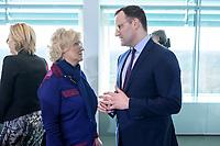 04 MAR 2020, BERLIN/GERMANY:<br /> Christine Lambrecht (L), SPD, Bundesjustizministerin, Jens Spahn (R), CDU, Bundesgesundheitsminister, im Gespraech, vor Beginn der Kabinettsitzung, Bundeskanzleramt<br /> IMAGE: 20200304-01-045<br /> KEYWORDS: Kabinett, Sitzung, Gespräch