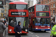 London's newest red double-decker Routemaster (27th Feb 2012) bus is seen in service on the capital's streets for the first time. The hybrid NB4L, or the Borismaster, New Routemaster or Boris Bus, is a 21st century replacement of the iconic Routemaster as a bus built specifically for use in London and is said to be 40 per cent more fuel efficient than conventional diesel buses. The brainchild of London's Conservative mayor Boris Johnson, its funding has been controversial amid massive fare increases in transport.