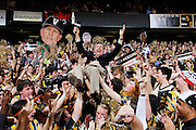 NASHVILLE, TN - FEBRUARY 11: ESPN television analyst Dick Vitale crowd surfs atop Vanderbilt Commodores fans in the student section before the game against the Kentucky Wildcats at Memorial Gymnasium on February 11, 2012 in Nashville, Tennessee. Kentucky won 69-63. (Photo by Joe Robbins/Getty Images) *** Local Caption *** Dick Vitale