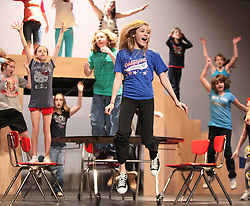 """April 4, 2011: Sharpay, Gabriella Mazza, sings during """"Status Quo"""" in the cafeteria as she tries to stop Troy and Gabriella from participating in the school play. High School Musical Jr. runs from April 8-10. Showtimes are Friday, Saturday at 7:00pm and Sunday at 2:00pm. All tickets are eight dollars, call (304) 8426785    (Photo by: Ben Queen)"""