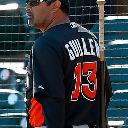 March 26, 2012; Lakeland, FL, USA; Miami Marlins manager Ozzie Guillen (13)before a spring training game against the Detroit Tigers at Joker Marchant Stadium. Mandatory Credit: Derick E. Hingle-US PRESSWIRE