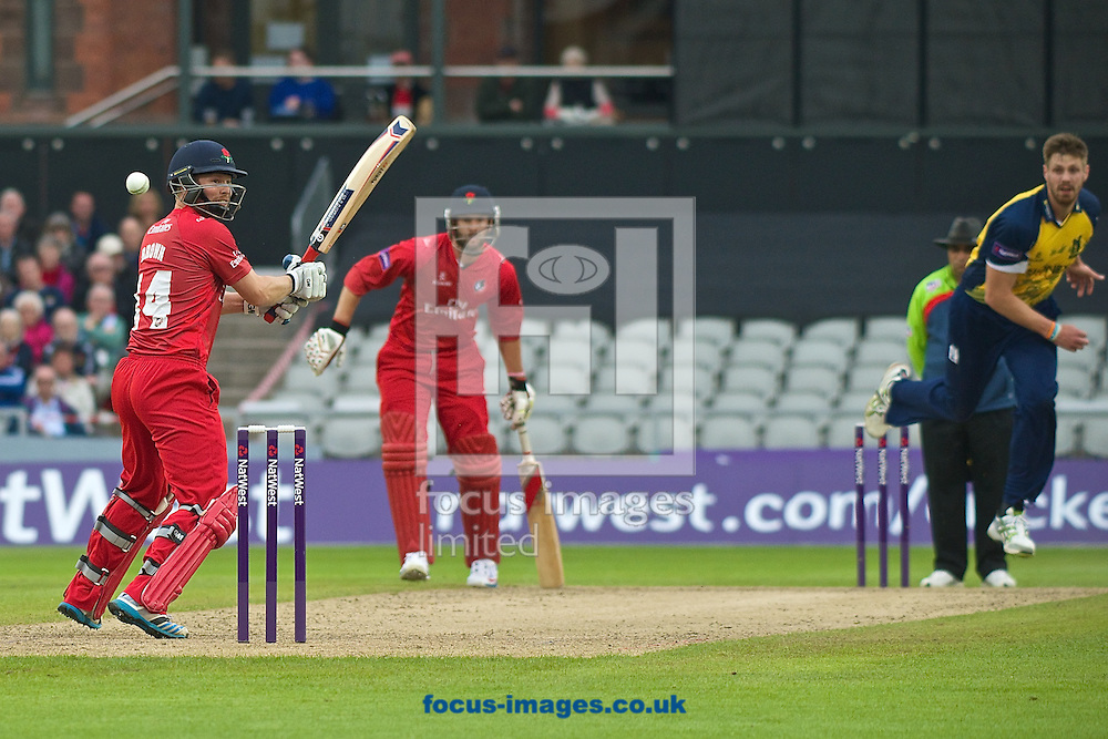Karl Brown of Lancashire Lightning faces a delivery from Boyd Rankin of Birmingham Bears during the Natwest T20 Blast match at Old Trafford Cricket Ground, Stretford<br /> Picture by Ian Wadkins/Focus Images Ltd +44 7877 568959<br /> 30/05/2014