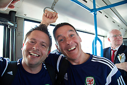 CARDIFF, WALES - Sunday, September 7, 2014: Wales' physiotherapist David Weeks and masseur David Rowe at Cardiff Airport as the squad flies to Andorra ahead of the opening UEFA Euro 2016 qualifying match. (Pic by David Rawcliffe/Propaganda)