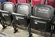 Three FanDuel fantasy sports seats sit empty before the Washington Redskins 2015 week 13 regular season NFL football game against the Dallas Cowboys on Monday, Dec. 7, 2015 in Landover, Md. The Cowboys won the game 19-16. (©Paul Anthony Spinelli)